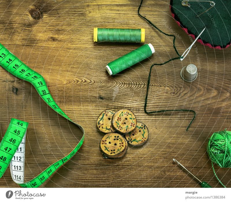 Green threaded Leisure and hobbies Profession Tailor Tailoring Sewing Fashion Services Buttons Needle Dry goods Custom-made Tape measure Centimeter Crochet