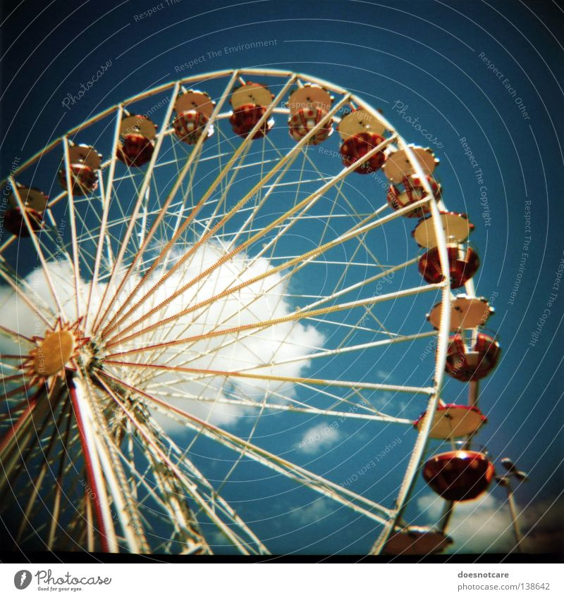 Blue Lomography Vantage point Leisure and hobbies Analog Fairs & Carnivals Leipzig Partially visible Section of image Ferris wheel Medium format Vignetting Festival
