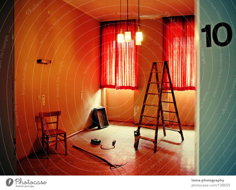 Room 10 Still Life Hotel Pitchfork Saw Scythe Jacksaw Tool Drawer Window Curtain Drape Motel Lamp Creepy Horror film Whimsical Light Door House number Derelict