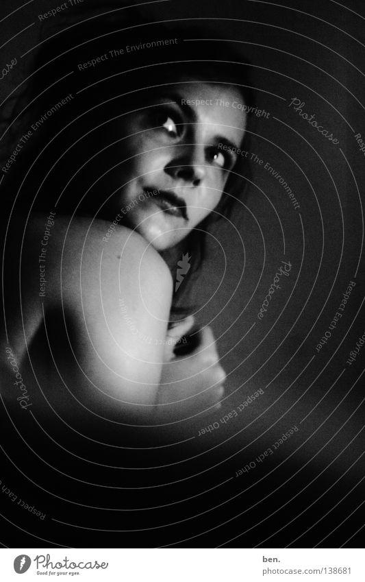 to vanish in grey Portrait photograph Woman Dark Gray Black Mirror Black & white photo Shadow Going
