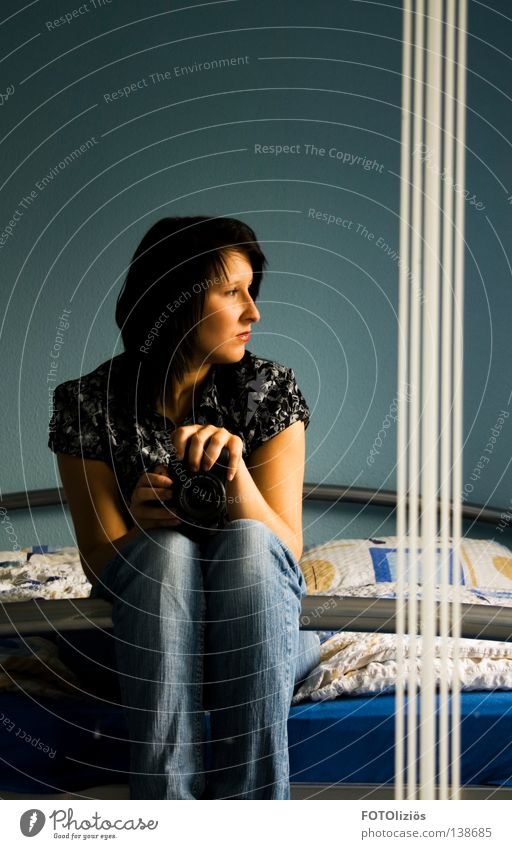 Self-portrait with stripes #60 Hair and hairstyles Face Calm Bed Mirror Bedroom Camera Human being Young woman Youth (Young adults) Woman Adults Nose Mouth Legs