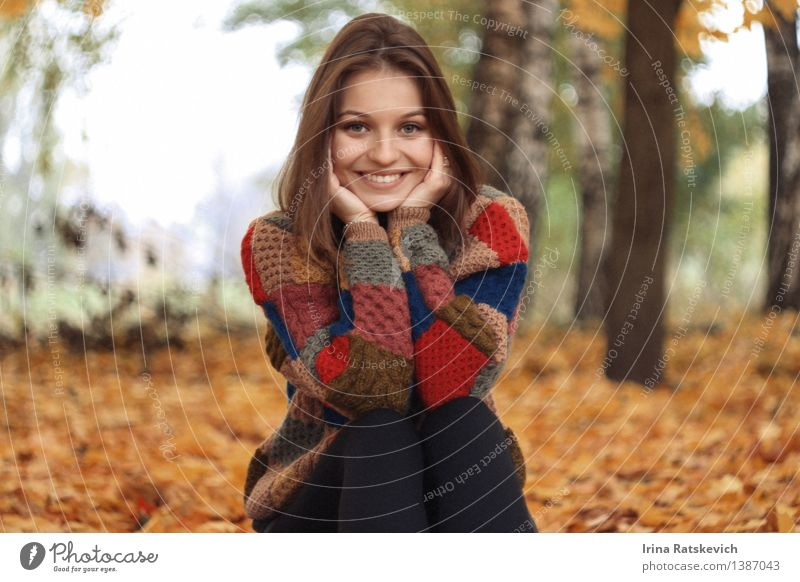 smiley girl Human being Nature Youth (Young adults) Beautiful Young woman Tree Hand Landscape Leaf 18 - 30 years Forest Face Cold Adults Autumn Funny