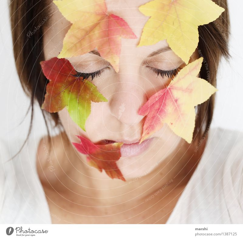 autumn face Human being Feminine Young woman Youth (Young adults) Woman Adults Head 1 30 - 45 years Environment Nature Plant Autumn Leaf Emotions Moody