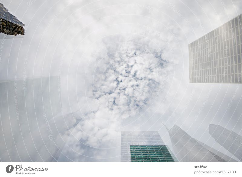 Sky City Clouds Exceptional High-rise USA Skyline Double exposure Surrealism Manhattan New York City Suction