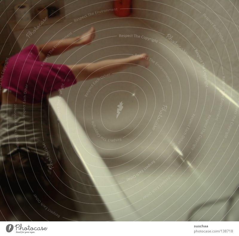 bathtub acrobatics Bathroom Bathtub Child Girl Gymnastics Stunt Absurdity Crazy Action Effort Joy Concentrate Legs Movement urge to move Speed