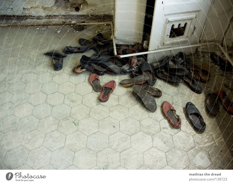SHOERIEDHOF Footwear Pair of shoes Attract Shuffle Slippers Multiple Agreed Forget Broken Dirty Dusty Sand Going Tread Movement Grief Small room Outlandish