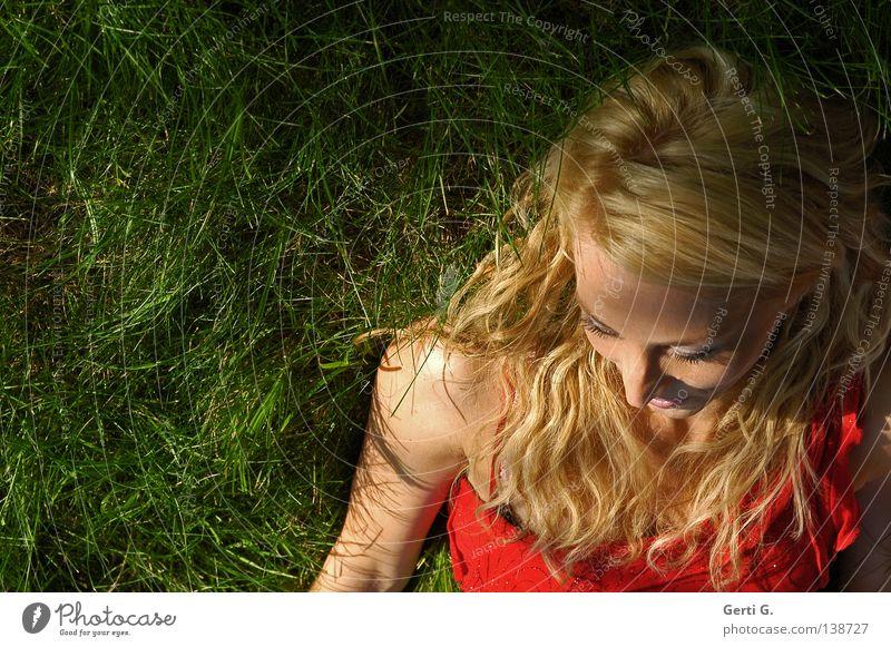 Woman Nature Green Beautiful Red Joy Calm Face Relaxation Meadow Grass Skin Lie Force Dress Model