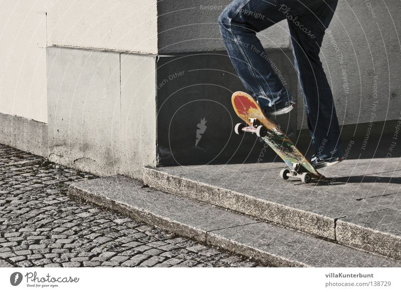 Jump Gray Legs Stairs Corner Jeans Leisure and hobbies Skateboarding Cobblestones Patch of colour