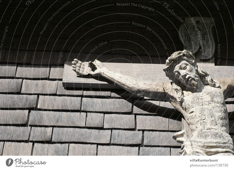 Father's house wall Jesus Christ Crucifix Roofing tile Black White Wall (building) Detail Back inri Black & white photo