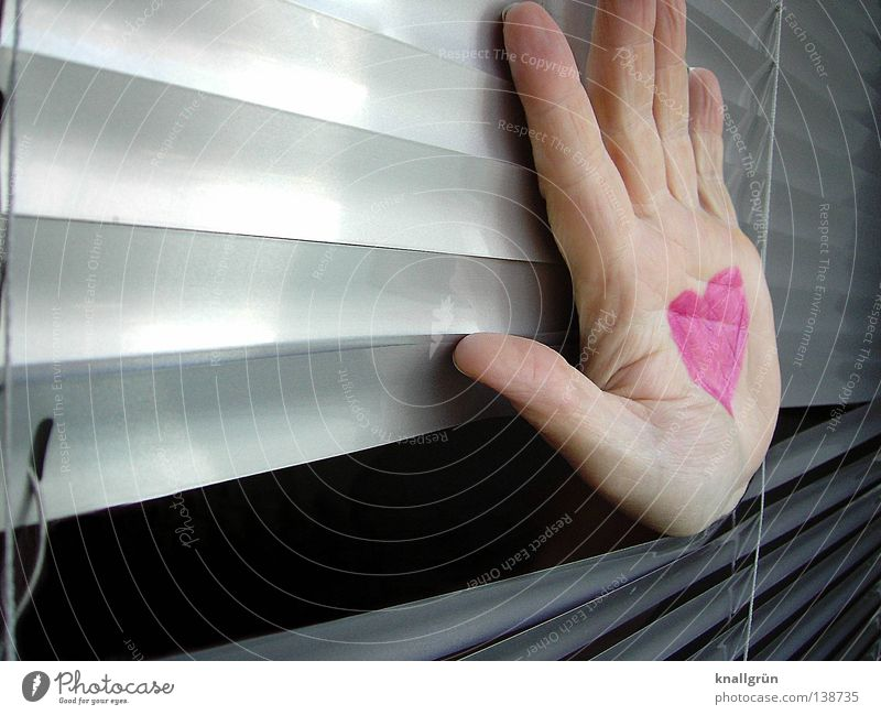 hand on heart Hand Pink Painted Venetian blinds Light Gray Lipstick Symbols and metaphors Love Woman Joy Heart Disk Bright Reflection Silver Through hole