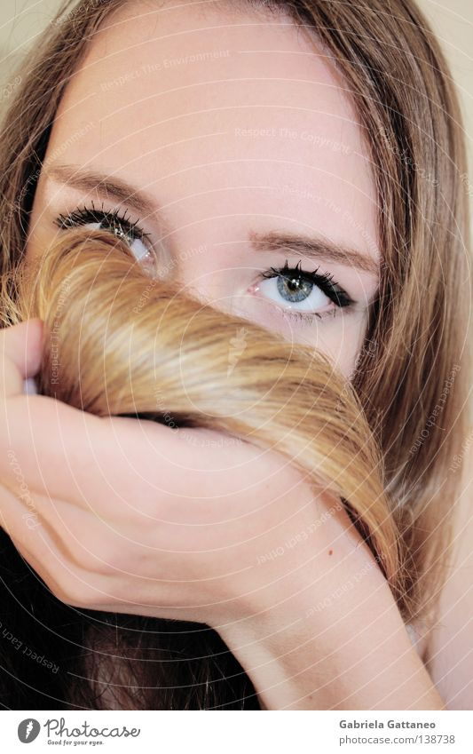 royalblue deepness Blonde Waves Hand Eyelash Deep Where Backwards Amber Go under Swing Search Portrait photograph Youth (Young adults) Contentment Hide Blue