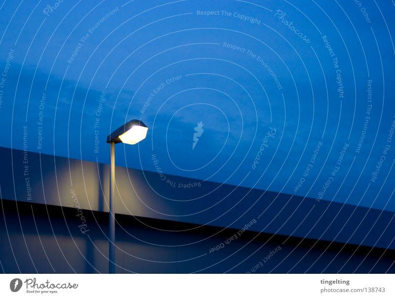 Sky Blue Calm Clouds Loneliness Yellow Lamp Dark Line Lighting Roof Lantern Flat roof