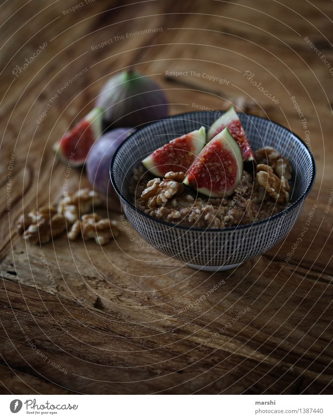 FigSnack Food Fruit Dessert Nutrition Eating Breakfast Diet Moody Food photograph Fig leaf Arranged Wooden table Bowl Healthy Eating Walnut porridge Cereal