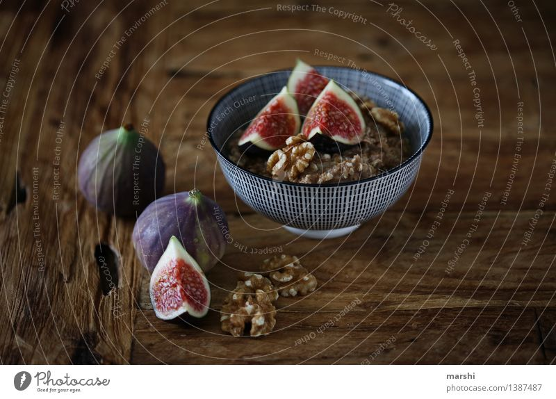 FigSnack II Food Fruit Dessert Nutrition Eating Vegetarian diet Emotions Moody Fig leaf Walnut Cereal Bowl Wooden table Tasty Sweet Food photograph