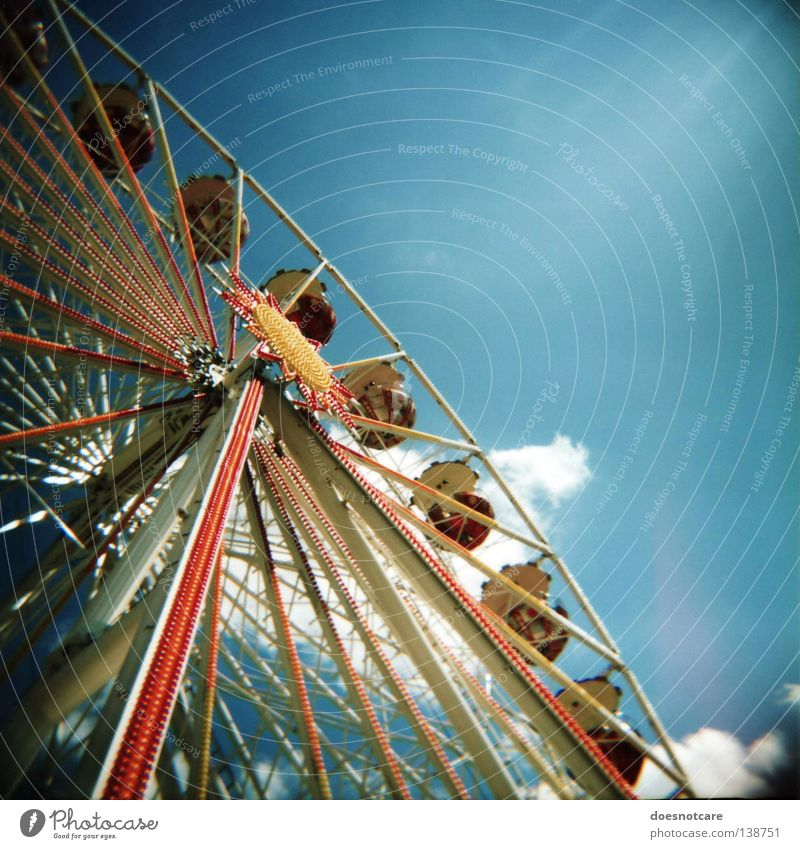 Leisure and hobbies Analog Fairs & Carnivals Leipzig Upward Vertical Partially visible Section of image Ferris wheel Medium format Vignetting Festival Skyward
