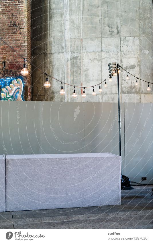 party atmosphere Entertainment Event Gloomy Lamp Fairy lights Concrete Warehouse Feasts & Celebrations Colour photo Interior shot Copy Space top