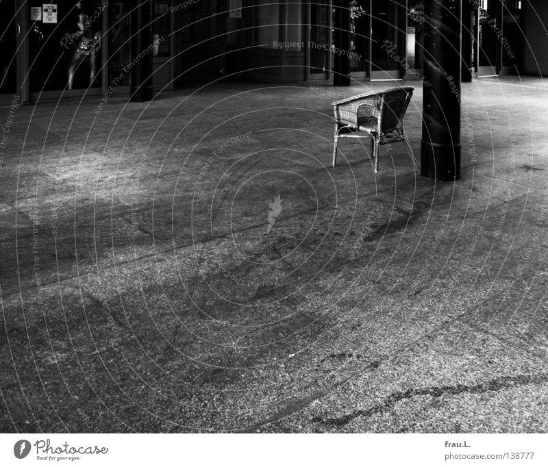Woman Loneliness Dance Concrete Empty Broken Observe Store premises Jewellery Voyeurism Closing time Mannequin Satisfaction Shop window Chair Tighten