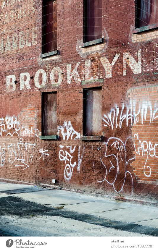 BK Brooklyn New York City USA Factory Wall (barrier) Wall (building) Stone Characters Hip & trendy Town Graffiti Colour photo Exterior shot Copy Space bottom