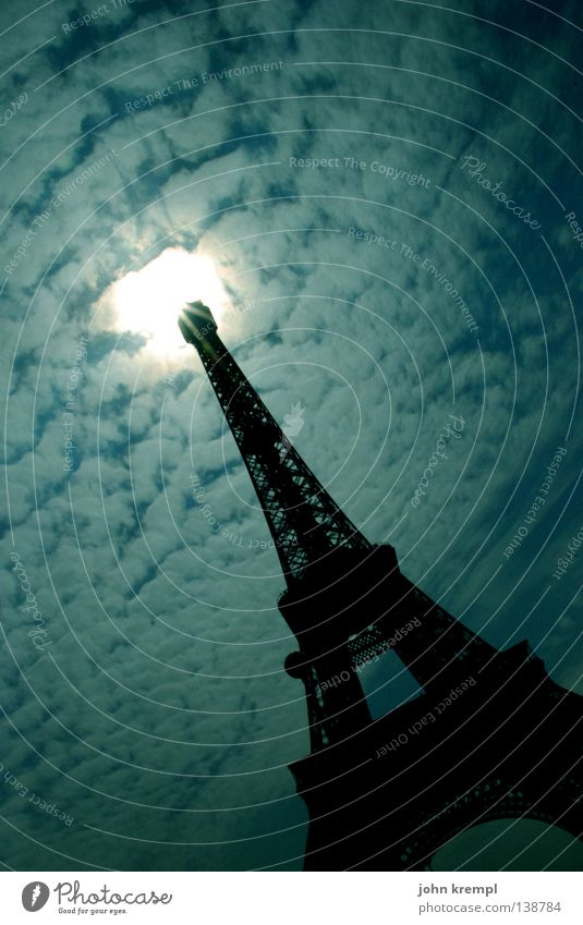 Sky Sun Clouds Metal Art Tower Paris Monument France Airplane landing Landmark UFO Departure Thorn Tourist Attraction Asparagus