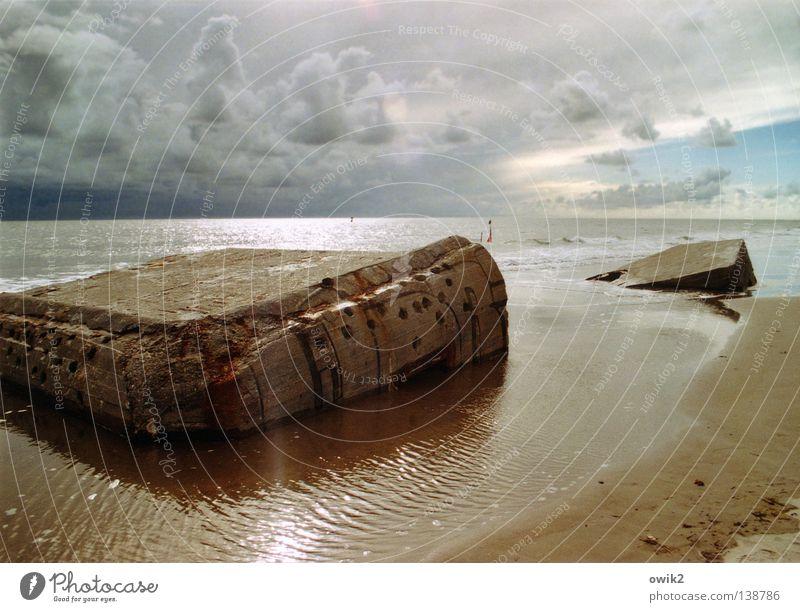 Sky Water Ocean Landscape Clouds Beach Coast Lake Sand Horizon Weather Illuminate Concrete Sign Historic Past