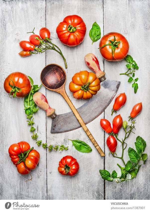 Various tomatoes, basil leaves with wooden spoon Food Vegetable Lettuce Salad Nutrition Lunch Dinner Organic produce Vegetarian diet Diet Italian Food Knives