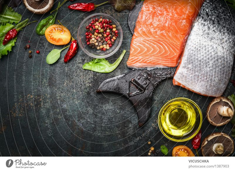 Salmon fillet with delicious ingredients for cooking Food Fish Vegetable Lettuce Salad Herbs and spices Cooking oil Nutrition Lunch Dinner Organic produce