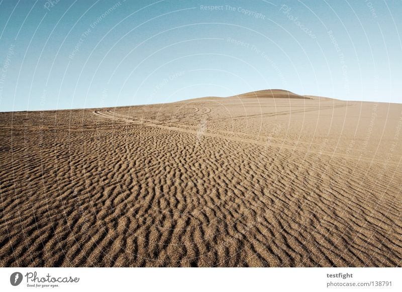 tracks Vacation & Travel Far-off places Freedom Environment Nature Sand Sky Climate Climate change Wind Drought Desert Hot Dry Blue Loneliness China Badlands