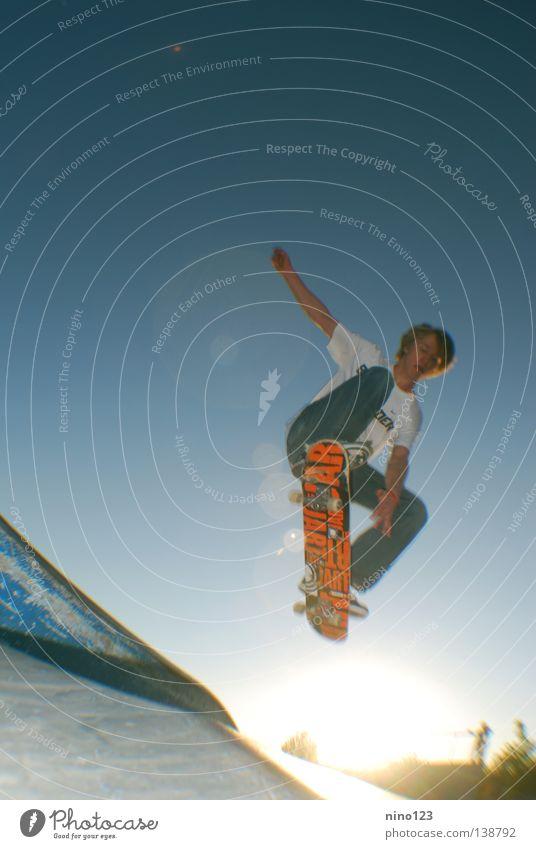grave Trick Style Sports Playing Funsport Summer Leonidas Sun Blue Sky Skateboarding Orange Cool (slang)
