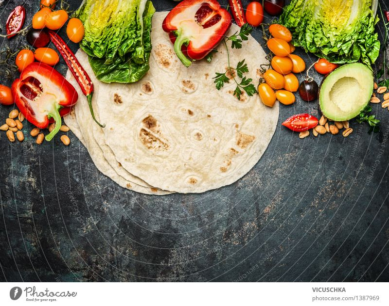 Tortillas with vegetables for tacos or burritos Food Vegetable Lettuce Salad Nutrition Lunch Dinner Buffet Brunch Picnic Organic produce Vegetarian diet Diet