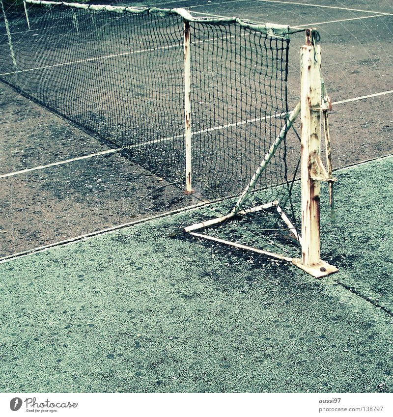 Old Leisure and hobbies Ball Net Derelict Tennis Decompose Ball sports Tennis ball Baseline Tennis rack Sideline