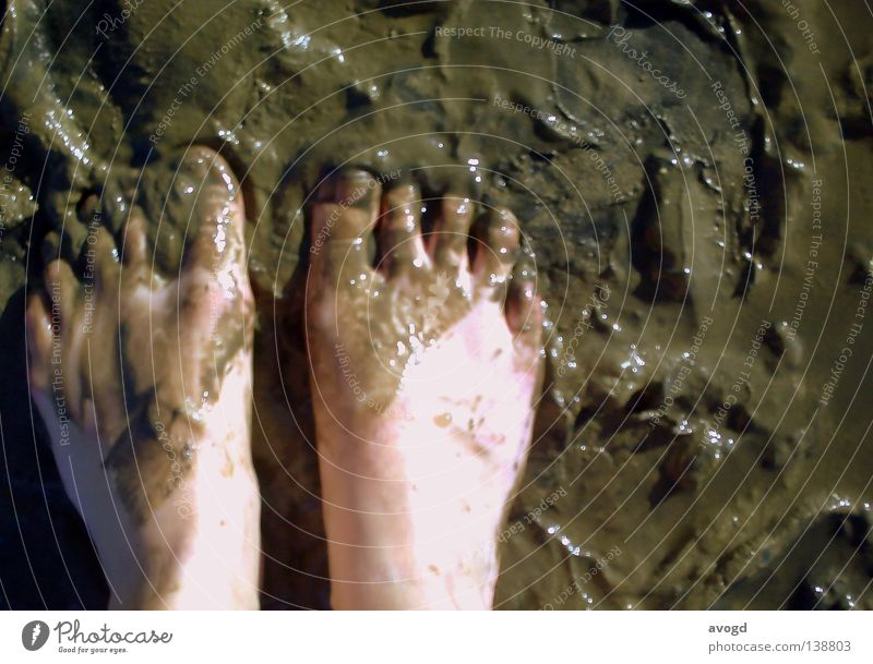 Plitsch and Platsch Toenail Nail Barefoot Mud Summer Vacation & Travel Brown Sunbathing Toes Sludgy Dirty Walk along the tideland Mud flats Skin color Wet