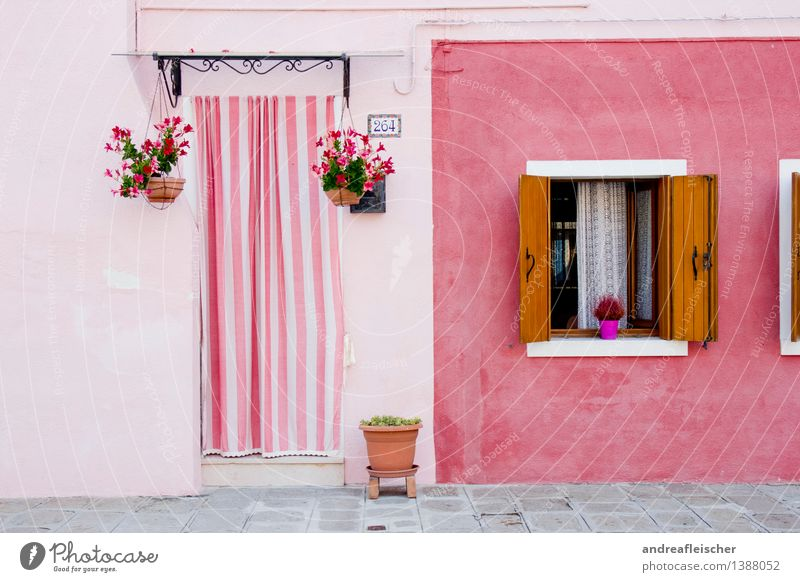 House (Residential Structure) Window Architecture Life Building Facade Pink Door Esthetic Italy Village Old town Drape Small Town Curtain Striped
