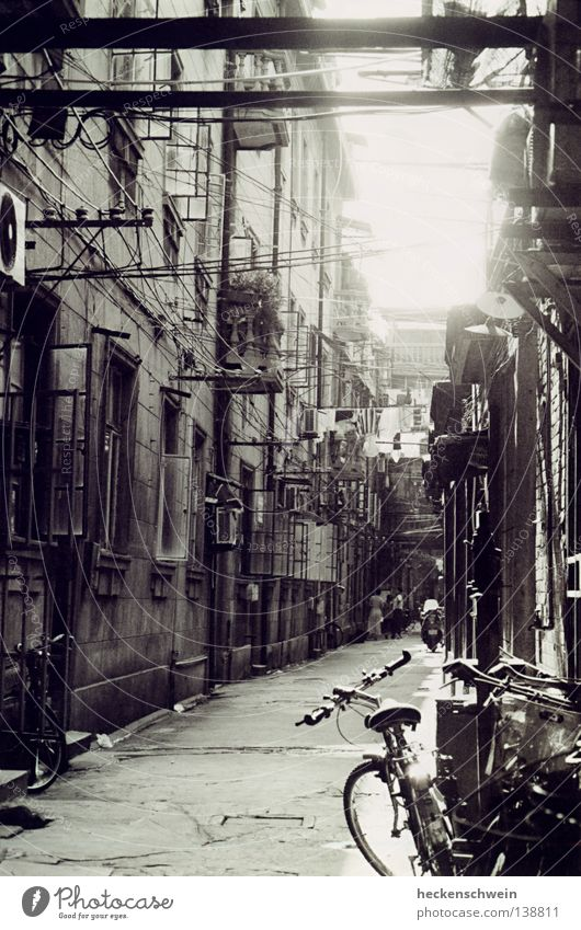 Old Sun Window Bicycle Flat (apartment) Small Poverty Rope Cable Asia Living or residing China Pipe Balcony Black & white photo Motorcycle