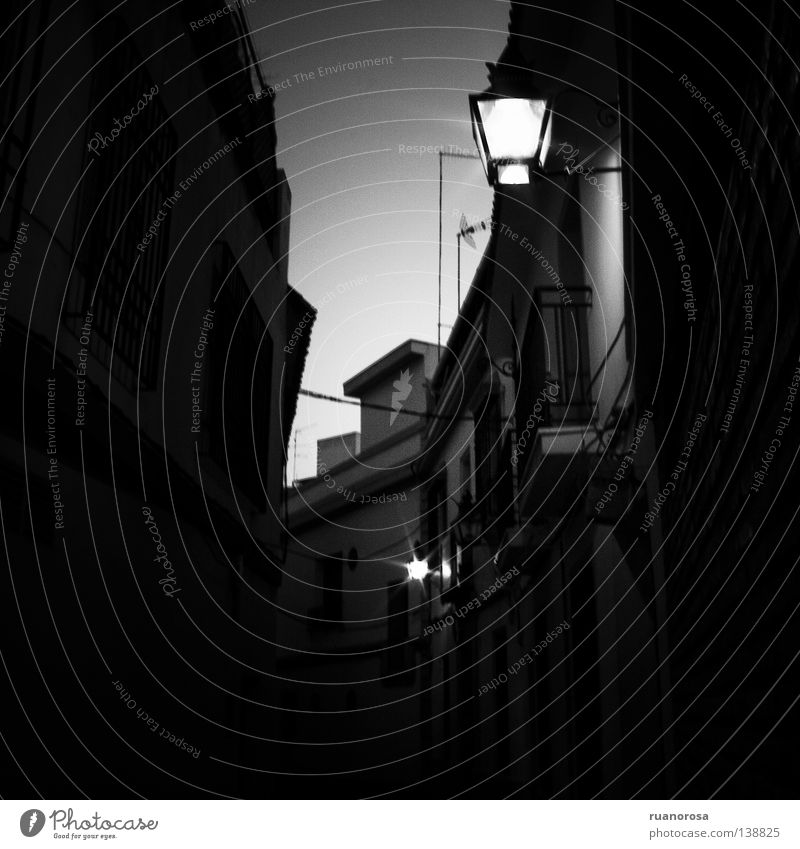 Calm House (Residential Structure) Street Lamp Wall (building) Fear Dangerous Night sky Obscure Street lighting West Alley Inferno