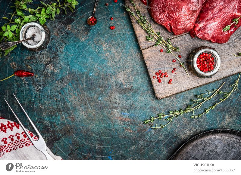 Organic hip steak with thyme on a rustic kitchen table Food Meat Herbs and spices Cooking oil Nutrition Lunch Dinner Organic produce Diet Bowl Pan Fork Style