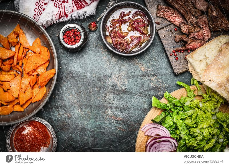 Ingredients for sandwich : roasted meat, vegetables Food Meat Vegetable Lettuce Salad Herbs and spices Nutrition Lunch Picnic Organic produce Fast food Plate