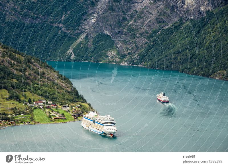 Cruise ships in the Geirangerfjord Relaxation Vacation & Travel Mountain Nature Landscape Water Coast Fjord Transport Navigation Passenger ship Cruise liner