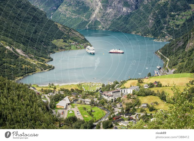 Cruise ships in the Geirangerfjord Relaxation Vacation & Travel Mountain Nature Landscape Water Fjord Transport Navigation Passenger ship Cruise liner