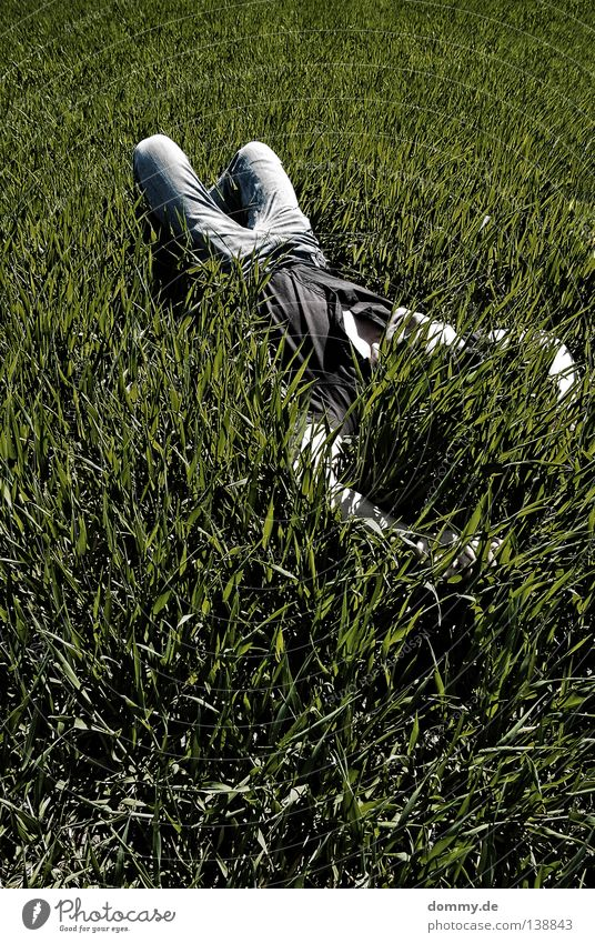 Man Nature Green Summer Relaxation Dark Grass Air Bright Field Skin Sleep Fresh Jeans Pants Shirt