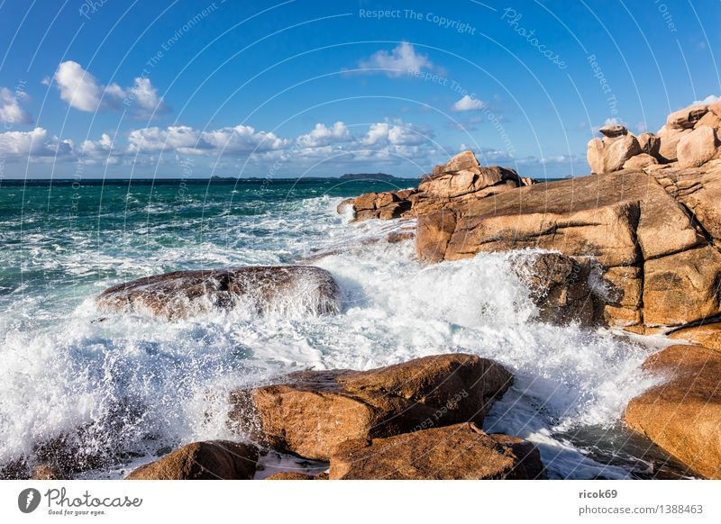 Nature Vacation & Travel Relaxation Ocean Landscape Clouds Coast Stone Rock Tourism Waves Tourist Attraction France Atlantic Ocean Granite