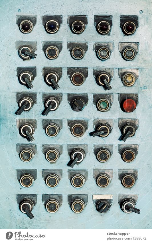 Buttons and Switches Controller Control desk Testing & Control Electric Old Vintage Worn out Dirty Industrial Multiple Many Light blue Grunge Gritty obsolete