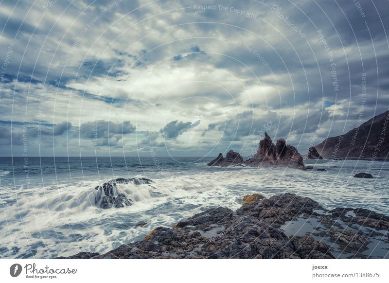 Sky Nature Blue White Ocean Landscape Clouds Natural Coast Brown Rock Horizon Wild Weather Waves Power