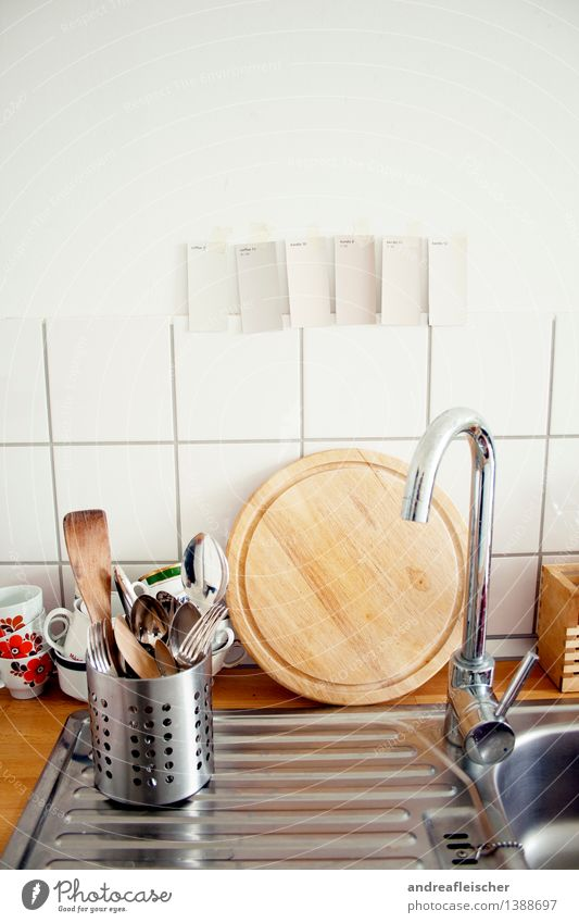 kitchen life Crockery Cup Mug Cutlery Fork Spoon Clean Tap Modern Do the dishes Dye Painting (action, work) Moving (to change residence) Wooden board Round