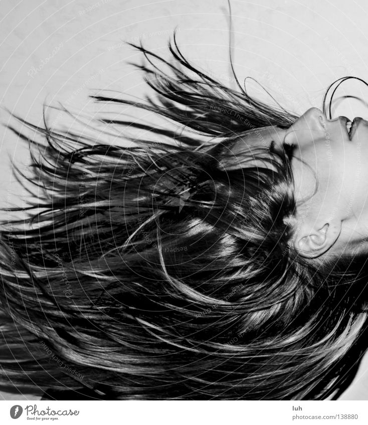 White Joy Black Face Happy Hair and hairstyles Contentment Wind Might Boredom Muddled Strand of hair Gravity Black & white photo