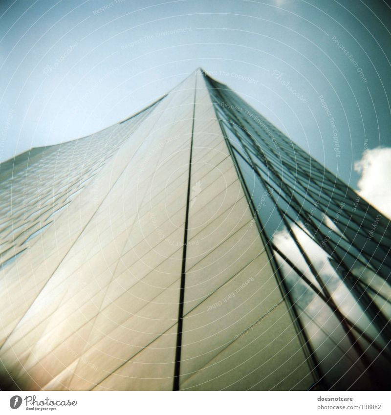 Push Your Head Towards The Air. Sky Window Architecture High-rise Tall Facade Modern Leipzig Vignetting MDR