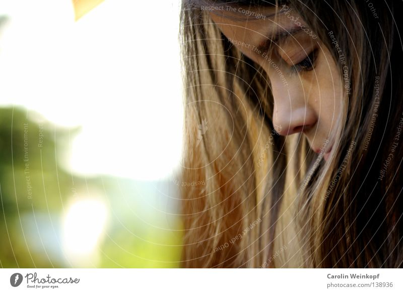 Dreaming. Hair and hairstyles Summer Sun Child Schoolchild Girl Nose 1 Human being 3 - 8 years Infancy Brunette Authentic Brash Beautiful Emotions Contentment