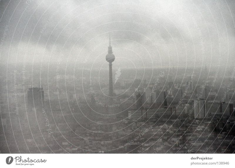 Sky City Berlin Gray End Skyline Monument Landmark Go under Berlin TV Tower Bad weather
