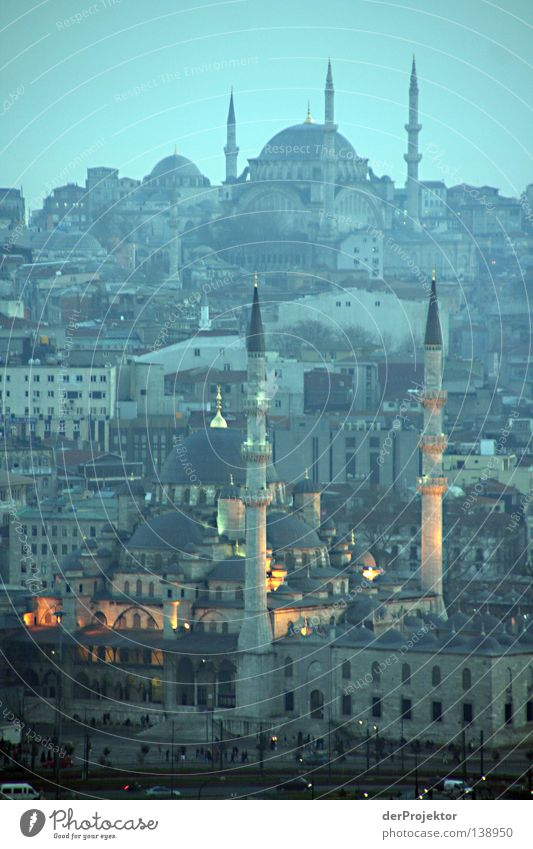 In the evening at the golden horn Istanbul Religion and faith Turkey Mosque Blue Mosque Europe Minaret Hill Historic Evening Mountain