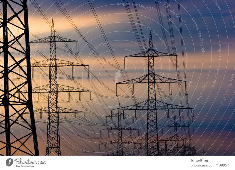 Sky Blue Black Clouds Yellow Line Orange Cable Electricity pylon Overhead line Smear