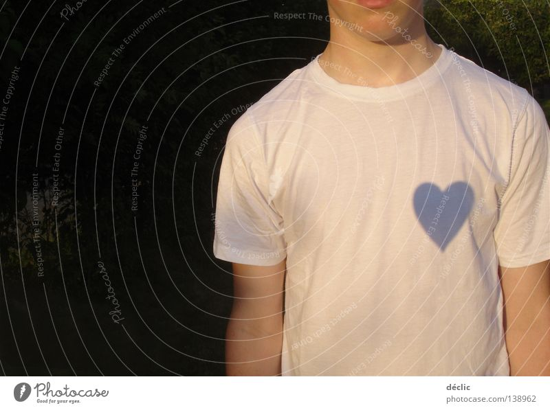 Man White Love Heart Clothing T-shirt Like